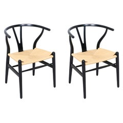 "Hans J. Wegner ""Wishbone"" Ebonized Arm Chairs for Carl Hansen & Søn"