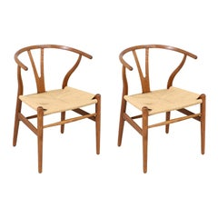 "Hans J. Wegner ""Wishbone"" Oak Arm Chairs for Carl Hansen & Søn"