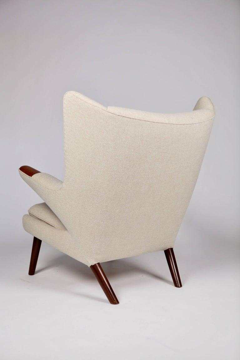 Upholstery Hans J. Wegner, Papa Bear and Ottoman, Teak and Teak Nails For Sale