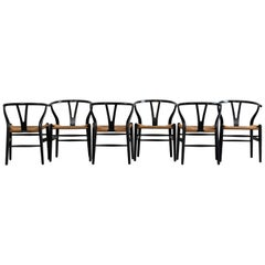 Hans Jorgen Wegner Set of Six Chairs CH24 Carl Hansen & Son Production, 1960