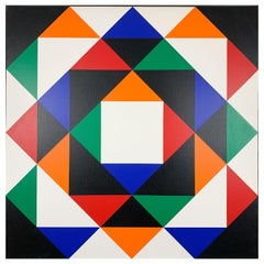 Hans Jørgen Hvid, Large Geometric Abstract Painting, Acrylic on Canvas, Framed