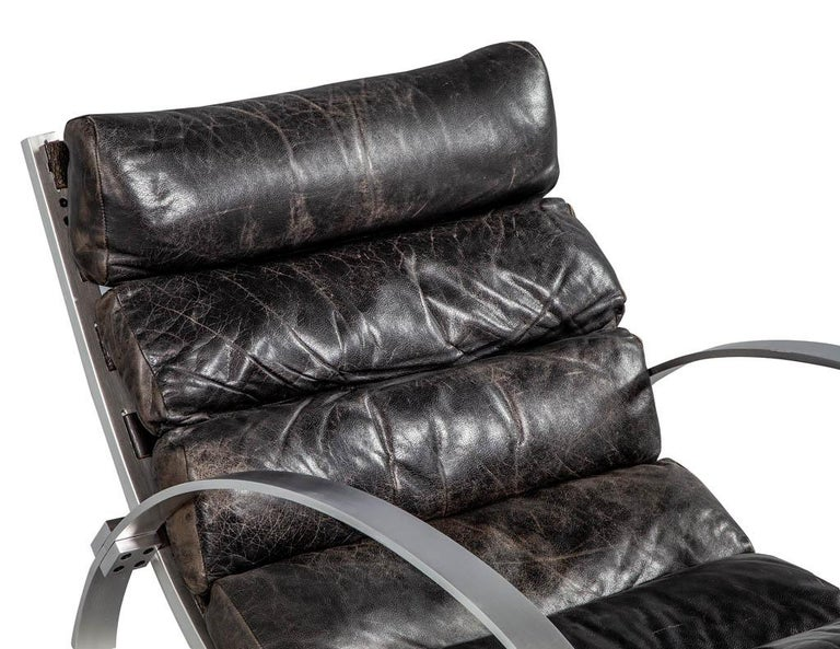 German Hans Kaufeld Leather and Brushed Aluminium Mid-Century Modern Rocking Chair For Sale