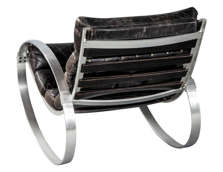 Aluminum Hans Kaufeld Leather and Brushed Aluminium Mid-Century Modern Rocking Chair For Sale