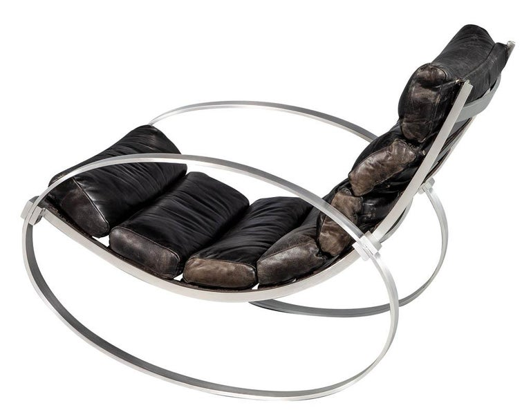 Hans Kaufeld Leather and Brushed Aluminium Mid-Century Modern Rocking Chair For Sale 1