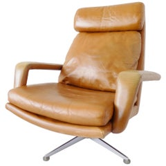 Hans Kaufeld Lounge Chair, Caramel leather, German, mid-century modern, swivel