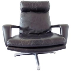 Hans Kaufeld Lounge Chair, German, Black leather, mid-century modern, swivel