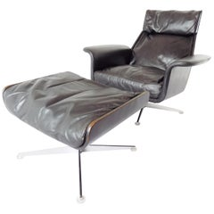 Hans Kaufeld Siesta 62 with Ottoman, Leather Lounge Chair, Mid-Century Modern