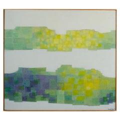 """Hans Kline (Canadian, b. 1924 - d. 1994) """"Double Landscape"""" painting."""