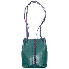 Hans Koch Green & Purple Leather Crossbody Bag