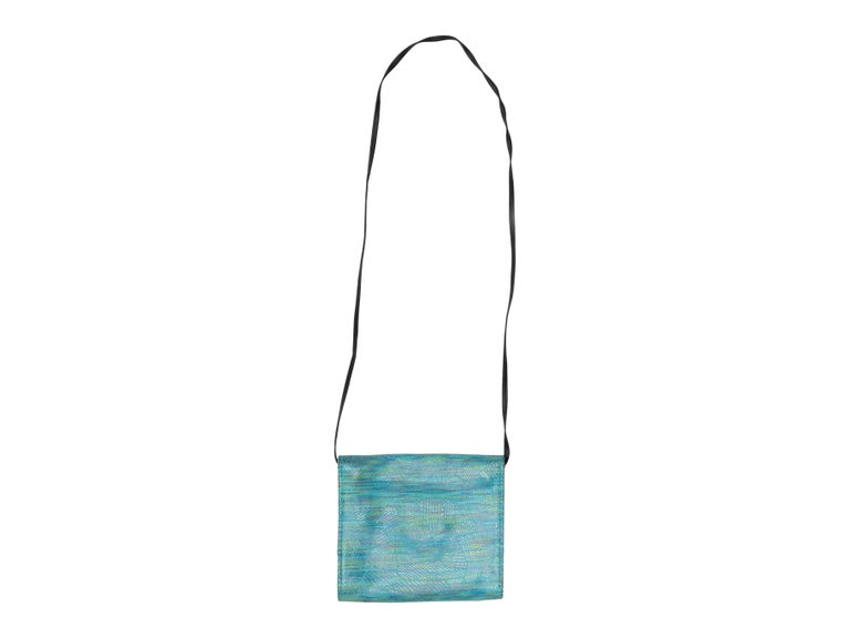 Blue Hans Koch Turquoise Embossed Leather Crossbody Bag For Sale
