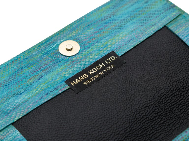 Hans Koch Turquoise Embossed Leather Crossbody Bag In Good Condition For Sale In New York, NY