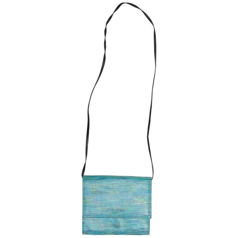 Hans Koch Turquoise Embossed Leather Crossbody Bag For Sale
