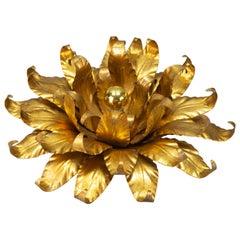 Hans Kögl Design Gilt Metal Flower Shaped Flush Mount or Wall Light, 1970s