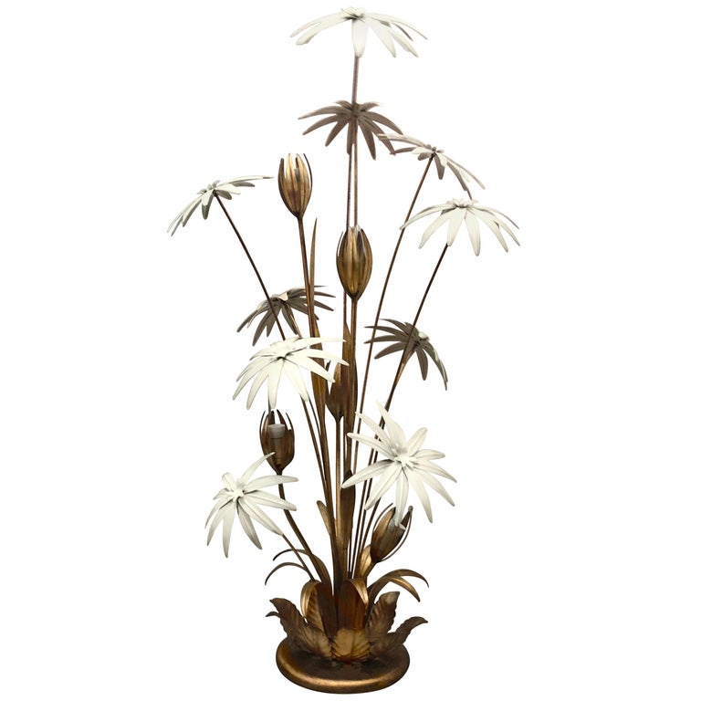 Hans Kögl Gilt Floral Figural Floor Lamp, Mid-Century Modern, Regency, Germany For Sale