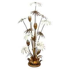 Hans Kögl Gilt Floral Figural Floor Lamp, Mid-Century Modern, Regency, Germany