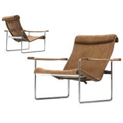 Hans Könecke Set of 2 Lounge Chairs in Beige Suede, Tecta, Germany, 1960s