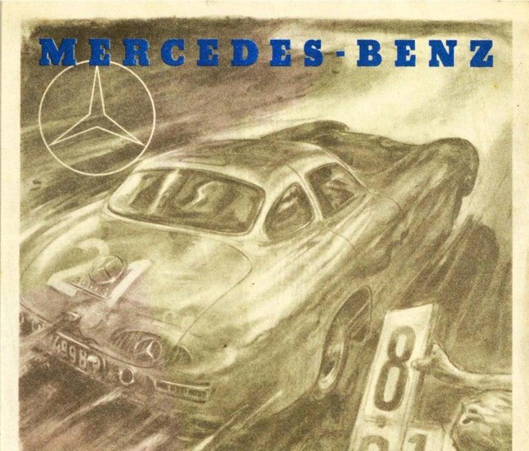 Original Vintage Poster Mercedes Benz 300SL Victory 24h Le Mans Car Race Record - Print by Hans Liska