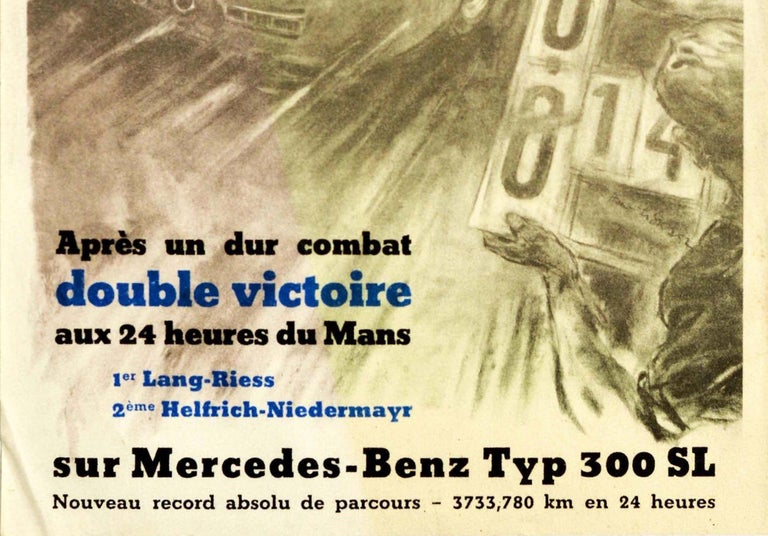 Original Vintage Poster Mercedes Benz 300SL Victory 24h Le Mans Car Race Record - Beige Print by Hans Liska