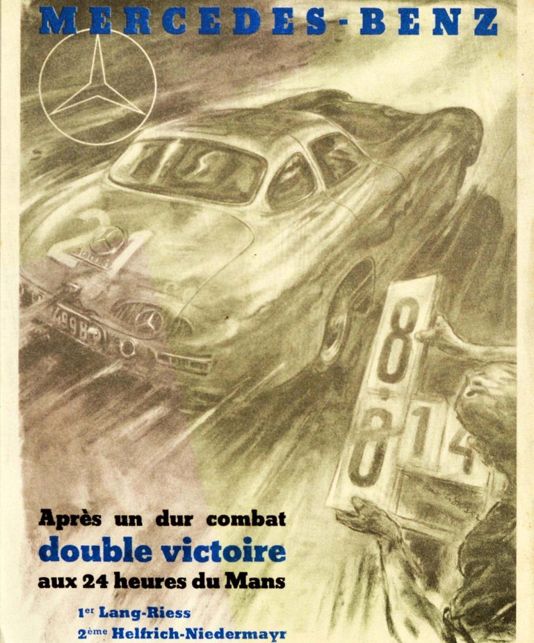 Original vintage motorsport poster celebrating the double victory of Mercedes-Benz 300SL in the 24 hour Le Mans car race featuring a dynamic illustration by the Austrian graphic designer, painter and artist Hans Liska (1907-1983) depicting a race