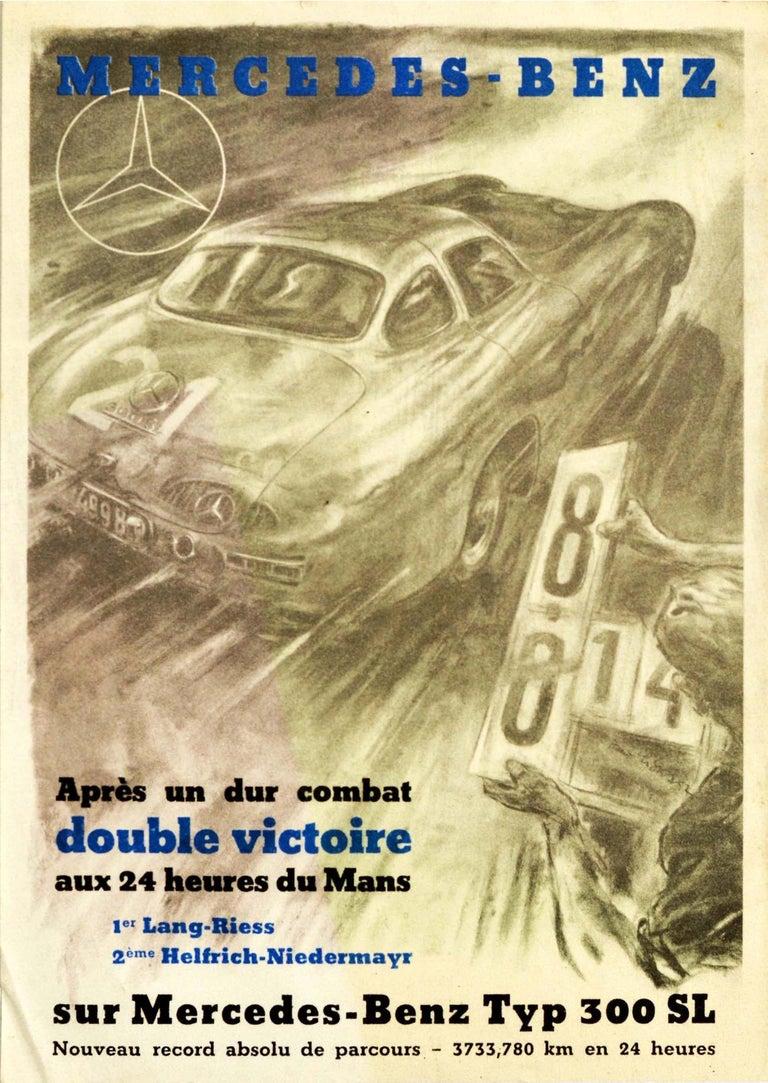 Hans Liska Print - Original Vintage Poster Mercedes Benz 300SL Victory 24h Le Mans Car Race Record