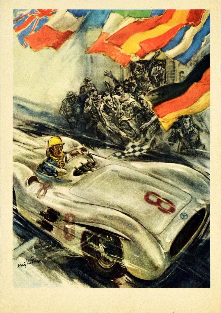 Hans Liska Print - Original Vintage Poster Mercedes Benz Formula One Grand Prix Car Racing Victory