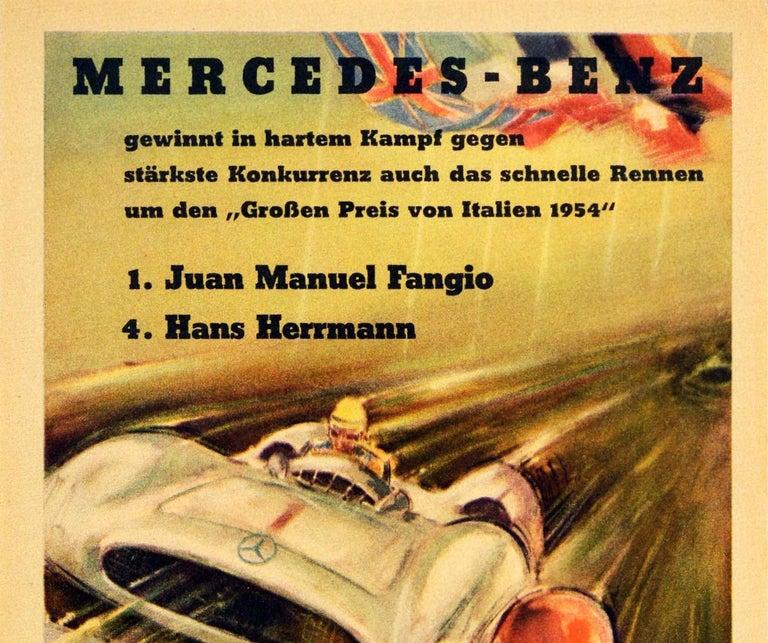 Original Vintage Poster Mercedes Benz Italian Grand Prix 1954 Juan Manuel Fangio - Print by Hans Liska
