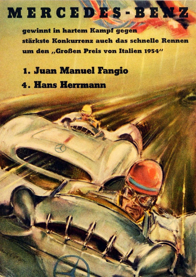 Original vintage motorsport poster celebrating the Mercedes-Benz victory in the Grossen Preis von Italien 1954 Italian Grand Prix won by Juan Manuel Fangio in first place and Hans Herrmann in fourth place featuring a dynamic auto racing design by