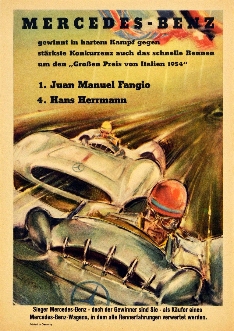 Hans Liska Print - Original Vintage Poster Mercedes Benz Italian Grand Prix 1954 Juan Manuel Fangio