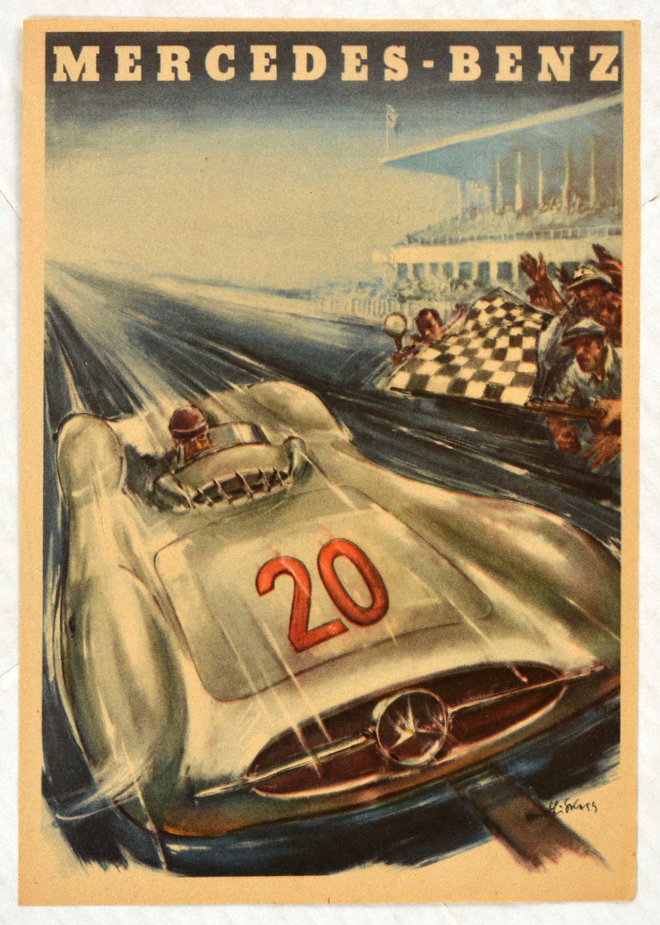 Original Vintage Poster Mercedes Benz Motor Sport French Grand Prix Karl Kling