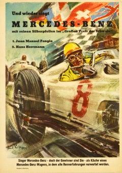 Original Vintage Poster Mercedes Benz Silver Arrows 1954 Swiss Grand Prix Fangio