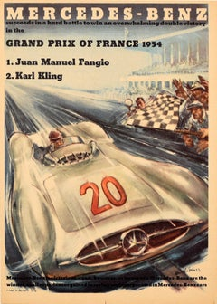 Original Vintage Poster Mercedes Benz Victory Grand Prix Fangio Kling Motorsport