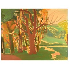 "Hans Øllgaard ""Forest Lighting"" Modernist Landscape, Oil on Canvas"
