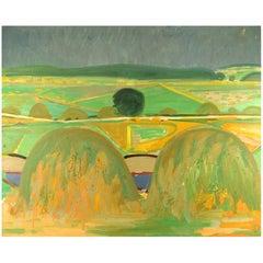 Hans Øllgaard, Oil on Canvas, Modernist Danish Summer Landscape