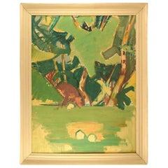 Hans Øllgaard, Abstract Modernist Landscape, Oil on Canvas