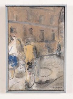 Vintage German Modernist Abstract Street Scene Signed Framed Oil Painting