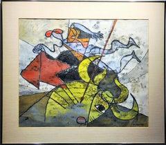 """Bull Fighter"" by Hans Moller, gouache on paper"