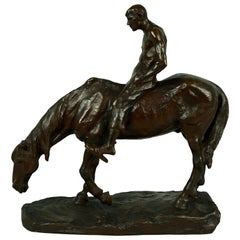 Hans Muller Bronze of Horse Sipping Water with Shirtless Man Riding