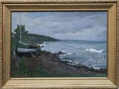 Wintery Coast- Norweigan 19thC Impressionist art oil painting shoreline seascape