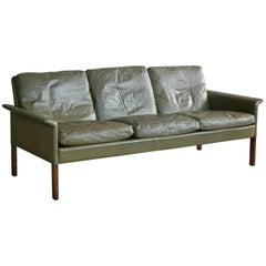 Hans Olsen 1960s Sofa in Green Patinated Leather for C.S. Møbler, Denmark
