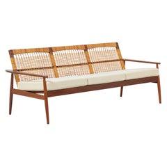 Hans Olsen 3-Seat Teak & Cane Sofa for Juul Kristensen