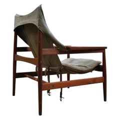 Hans Olsen Antelope Chair for Viskadalens Mobler in Original Suede Leather