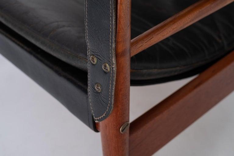 """Brass Hans Olsen """"Antilope"""" Safari Lounge Chair, 1960s For Sale"""