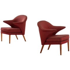 Hans Olsen Attributed Pair of Easy Chairs Produced in Denmark