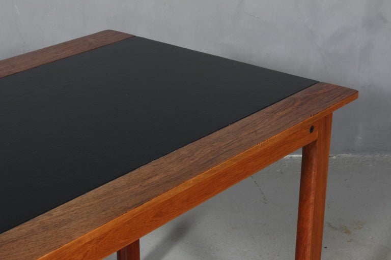 Scandinavian Modern Hans Olsen Coffee Table of Rosewood and Leather For Sale