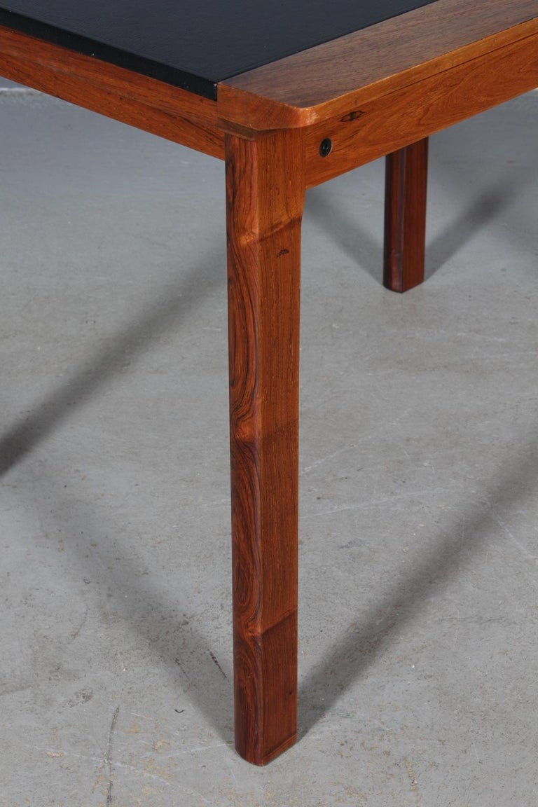 Danish Hans Olsen Coffee Table of Rosewood and Leather For Sale
