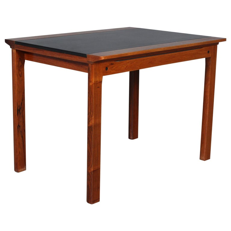 Hans Olsen Coffee Table of Rosewood and Leather For Sale