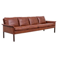Hans Olsen Cognac Leather & Rosewood 4-Seater Sofa for CS Møbelfabrik