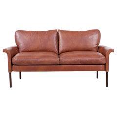 Hans Olsen Cognac Leather & Rosewood Love Seat Sofa