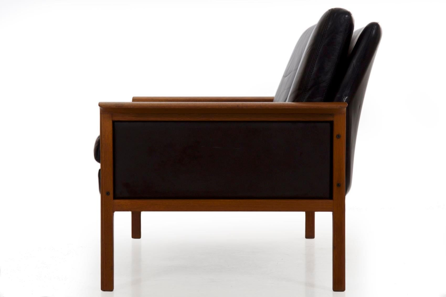 Hans olsen danish mid century modern leather loveseat sofa for sale at 1stdibs
