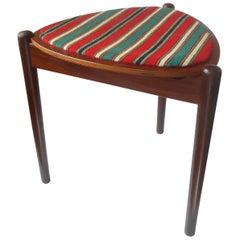 Hans Olsen Danish Modern Reversible Three-Legged Teak & Wool Stool / Side Table